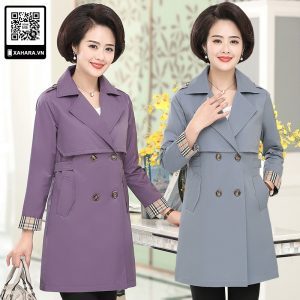 Áo khoác dài kiểu dáng Hàn Quốc cho phụ nữ trung niên