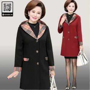 Áo khoác dài phụ nữ trung niên, mặc ấm, dáng thanh lịch