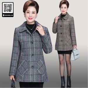 Áo khoác dạ len cho phụ nữ trung niên cao cấp, kẻ sọc tôn dáng