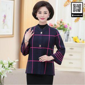 Áo khoác dạ len dáng ngắn cho phụ nữ trung niên quý phái