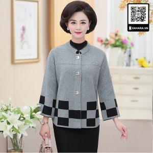 Áo khoác dạ len nữ trung niên dáng ngắn choàng ngoài, caro đa sắc