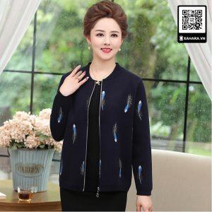 Áo khoác đan len cho phụ nữ trung niên, họa tiết lông công
