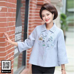 Áo khoác nữ trung niên dài tay, thêu hoa | XAHARA-AK001