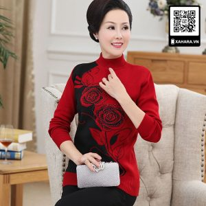Áo len đan cao cấp cho phụ nữ trung niên, hoa hồng lớn