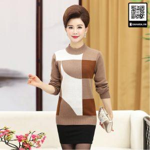Áo len nữ trung niên đẹp, dáng rộng, đa sắc