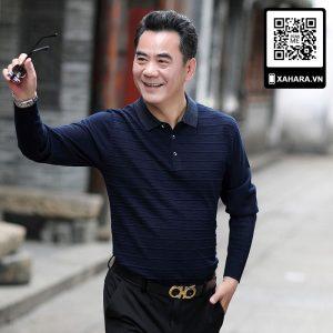 Áo thun dài tay cổ bẻ cao cấp dành cho đàn ông tuổi trung niên