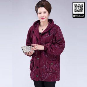 Áo khoác nữ trung niên form rộng có mũ, chất cotton dày ấm