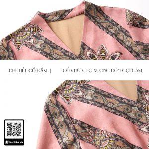 Đầm dài trung niên Hàn Quốc thắt eo, vải da lộn cao cấp