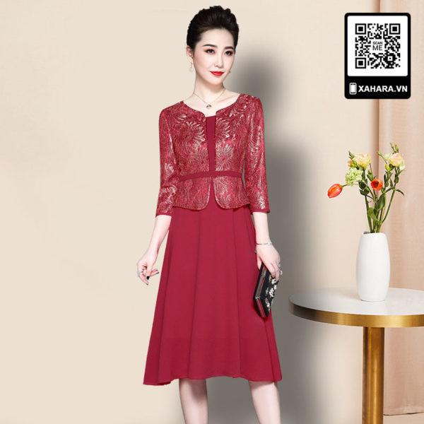 Đầm dự tiệc trung niên kiểu dáng Hàn Quốc, thân trên giả áo - 01