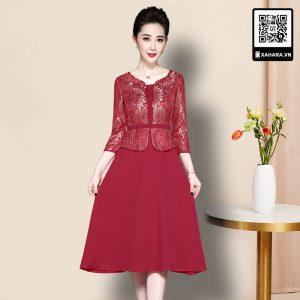 Đầm dự tiệc trung niên lụa cao cấp kiểu dáng Hàn Quốc, thân trên giả áo