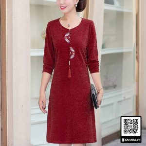 Đầm thu đông đẹp cho phụ nữ trung niên, tay dài, tôn dáng