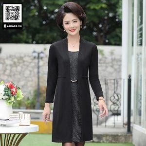 Đầm thu đông trung niên đi kèm áo choàng dài giả vest Hàn Quốc