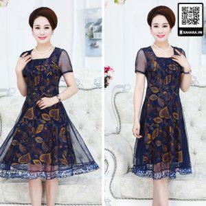 Váy đầm trung niên cổ vuông, họa tiết lá vàng, sang trọng
