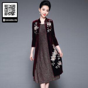 Áo đầm trung niên cao cấp hai lớp thêu hoa quý phái