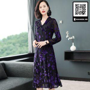 Đầm trung niên dài tay cao cấp kiểu thắt eo, đan hoa sang trọng