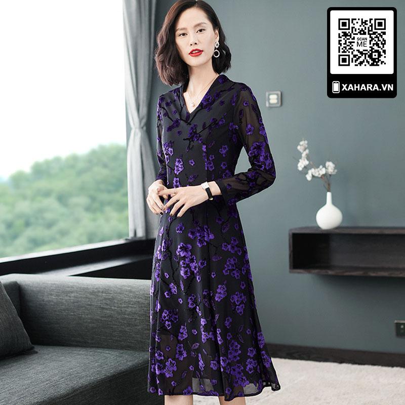 Đầm trung niên dài tay kiểu thắt eo, đan hoa sang trọng -2