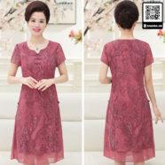Đầm voan cho phụ nữ trung niên màu hồng tuyệt đẹp -1