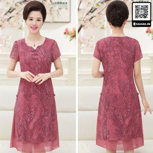 Đầm voan cho phụ nữ trung niên màu hồng tuyệt đẹp