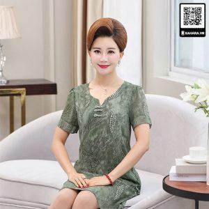 Đầm voan cho phụ nữ trung niên màu rêu xanh trang nhã