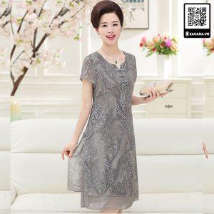 Đầm voan trung niên cao cấp Xahara màu xám ghi quý phái