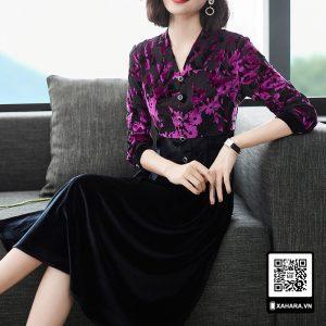 Đầm xòe thu đông trung niên cao cấp dài tay hoa văn tím