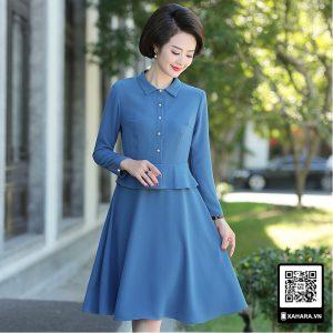 Đầm xòe trung niên dài tay cao cấp thân trên giả áo
