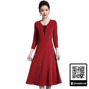 Đầm xòe trung niên cao cấp phong cách retro Âu Mỹ