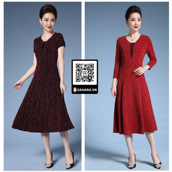 Đầm xòe trung niên phong cách retro Âu Mỹ