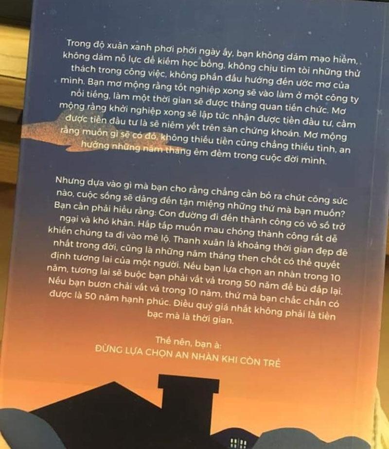 Mặt sau bìa sách Đừng Lựa Chọn An Nhàn Khi Còn Trẻ