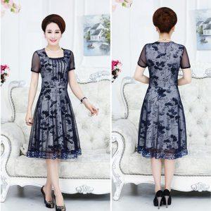 Đầm xòe trung niên U40-U50 ngắn tay, cổ vuông, đẹp mát
