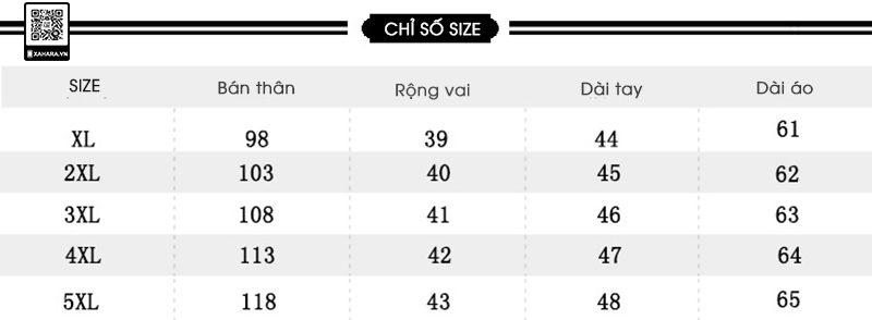 Bảng đo size quần áo