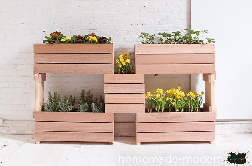 30+ mẫu chậu cây cảnh bằng gỗ đẹp