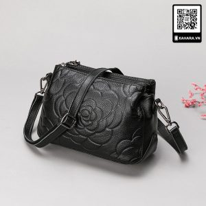 Túi xách da bò thật cao cấp hoa hồng dập nổi