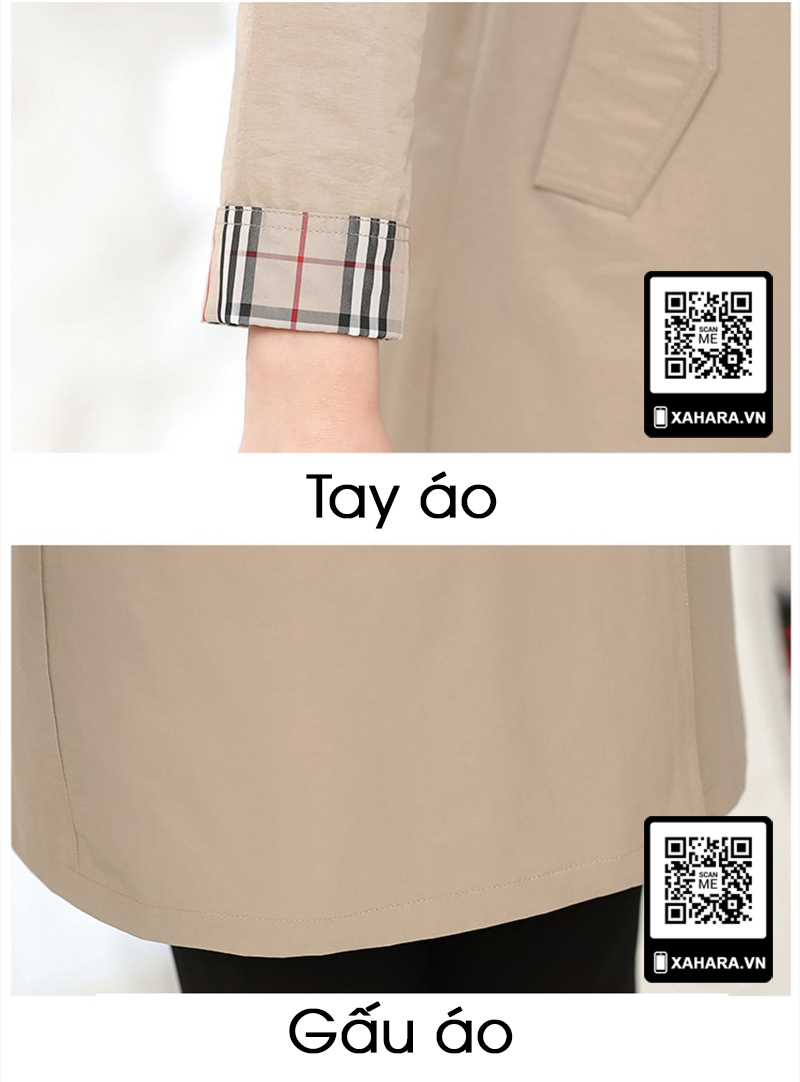 Áo khoác dài kiểu dáng Hàn Quốc cho phụ nữ trung niên chi tiết