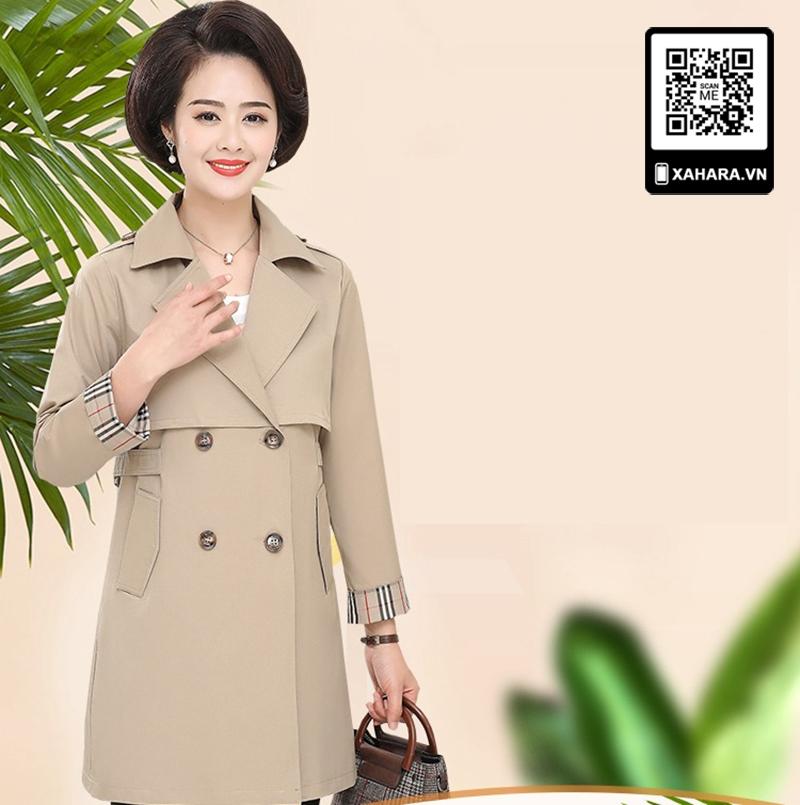 Áo khoác dài kiểu dáng Hàn Quốc cho phụ nữ trung niên màu be