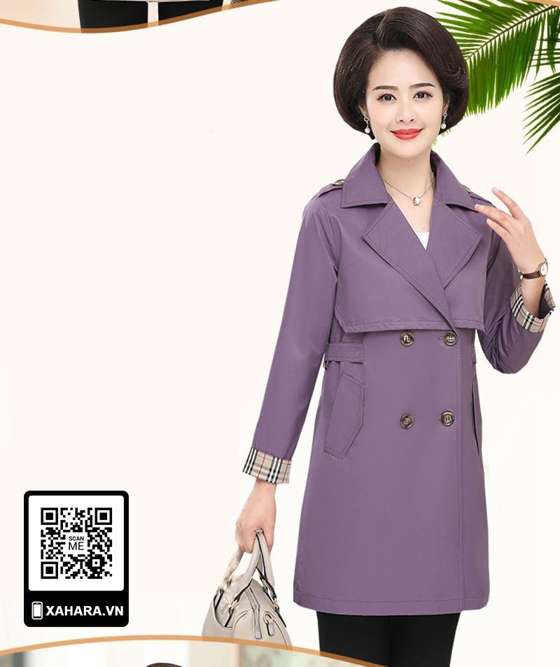 Áo khoác dài kiểu dáng Hàn Quốc cho phụ nữ trung niên màu tím