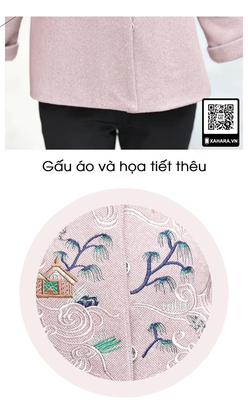 Áo khoác nữ trung niên dài tay thêu hoa xahara họa tiết