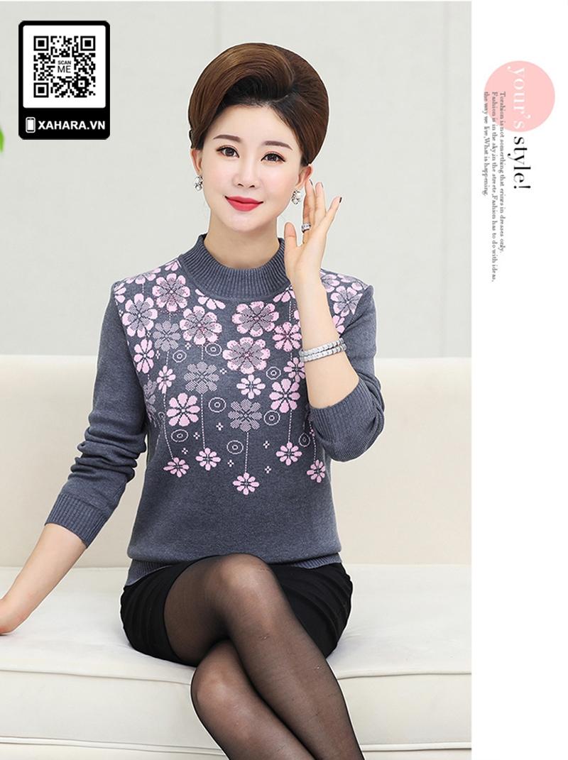 Áo len  phụ nữ tung niên toàn thân co dãn hoa văn trang nhã màu xám