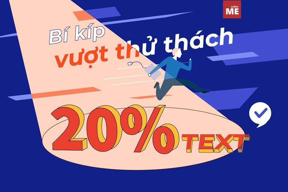 Cách thiết kế ảnh lách 20% text của Facebook