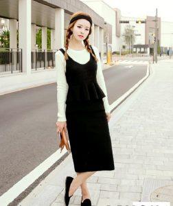 Mẫu đầm len Hàn Quốc đẹp cho quý cô mùa thu đông