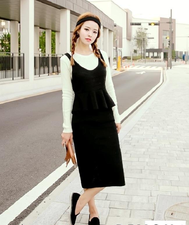 Đầm len Hàn Quốc thu đông