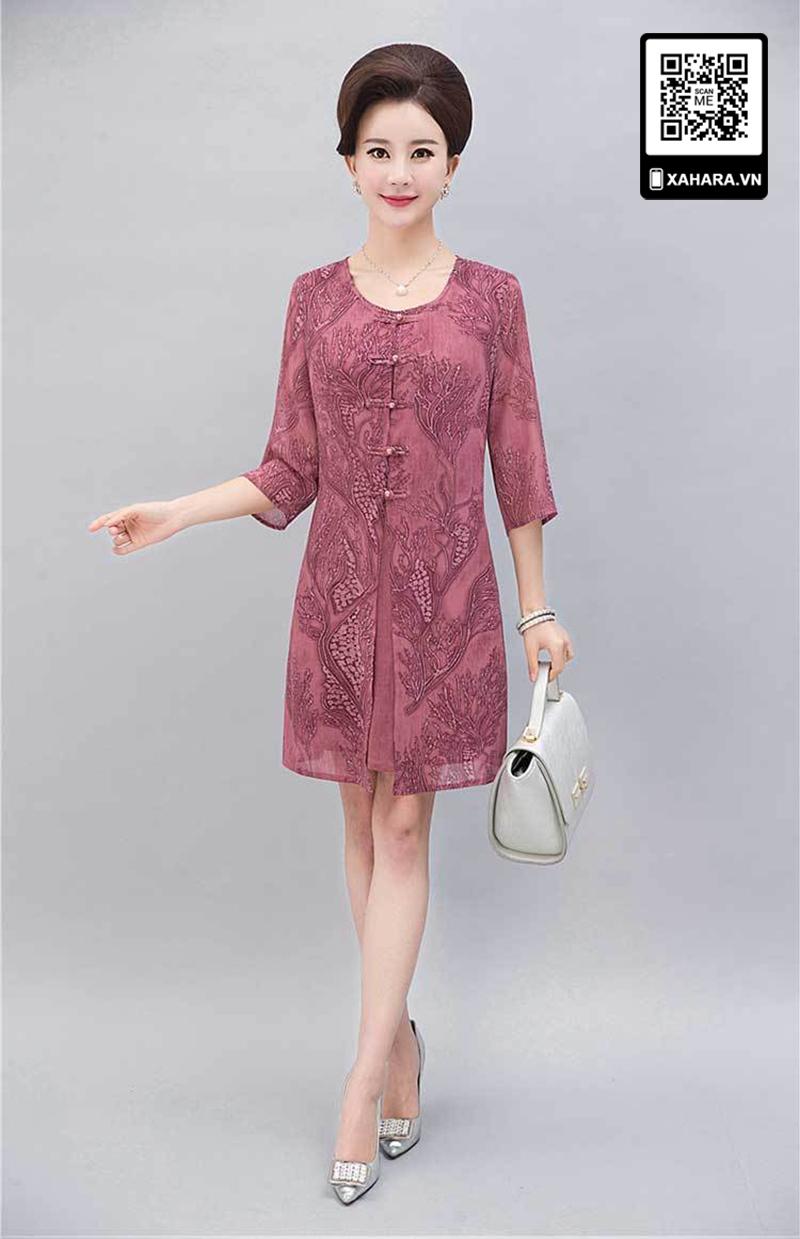 Đầm trung niên sang trọng hồng