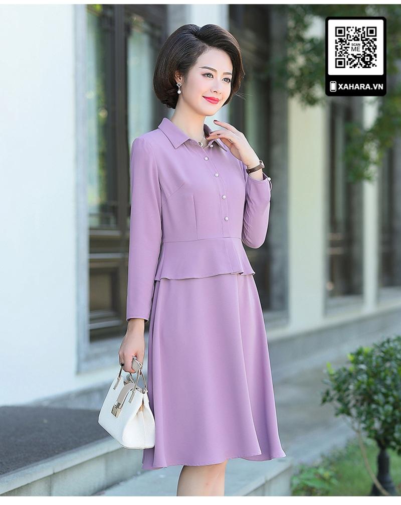 Đầm xòe trung niên dài tay cao cấp thân trên giả áo tím