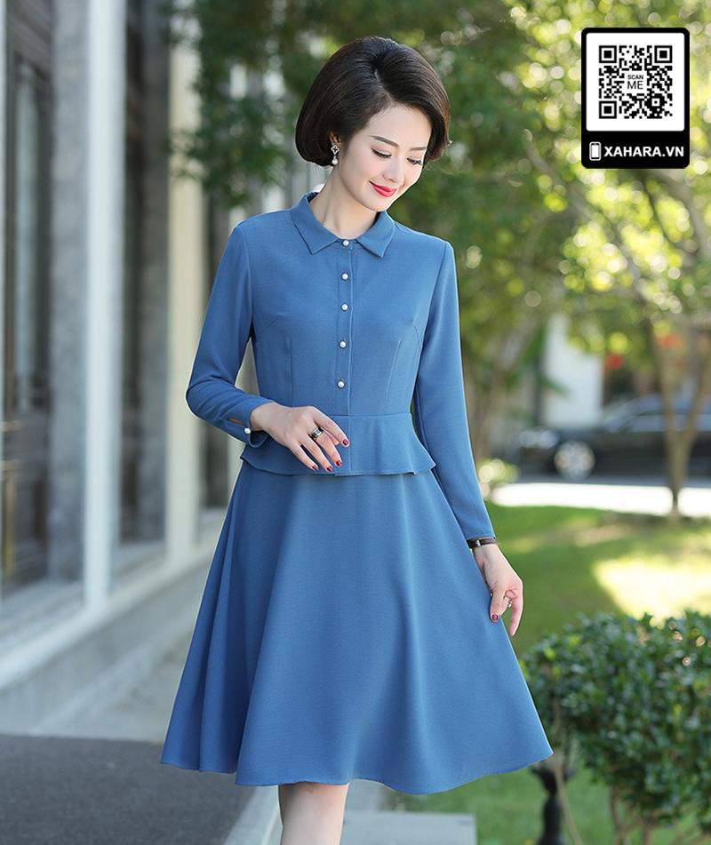 Đầm xòe trung niên dài tay cao cấp thân trên giả áo xanh
