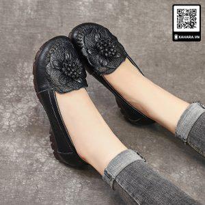 Giày nữ trung niên đế bằng cao cấp, da mềm chống trơn trượt