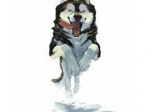 tranh vẽ chó husky