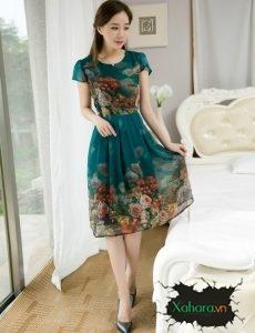Bộ sưu tập váy đầm chữ A trung niên đẹp, sang, sành điệu