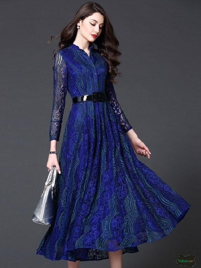 Đầm dài trung niên mang hơi hướng cổ điển chưa bao giờ lỗi mốt.